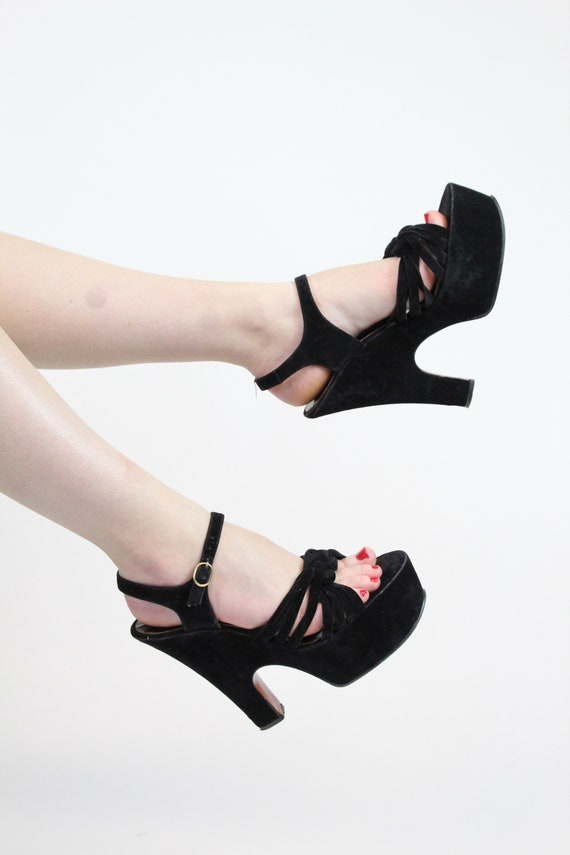 1970s does 1940s platform sandals size 7 us    vi… - image 2