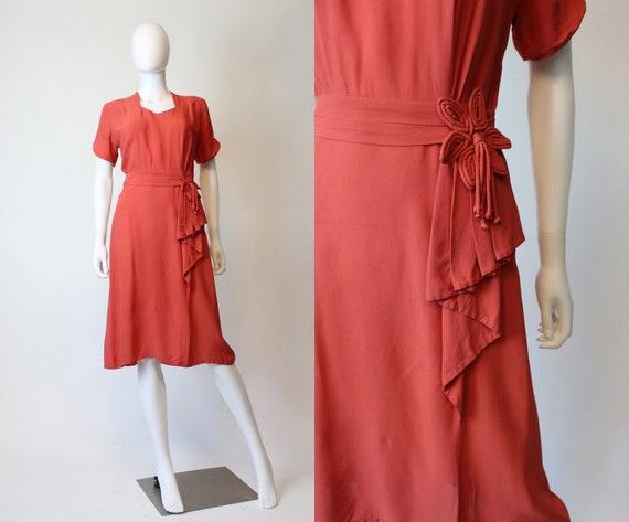 1940s coral rayon dress small   vintage tassel dre