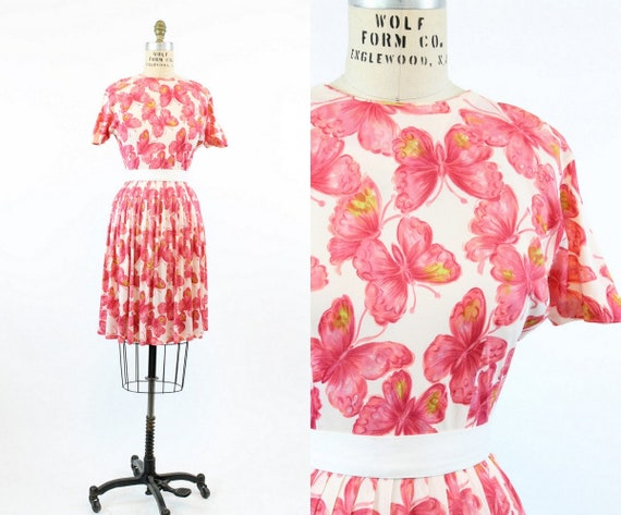 1950s butterfly print dress xs | vintage novelty p