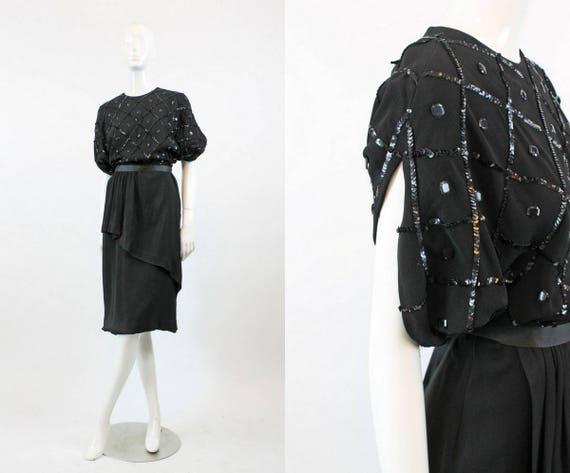 1940s sequin dress medium | vintage peplum dress r