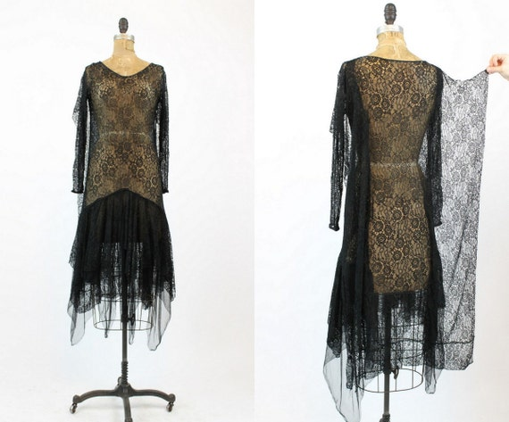 1920s lace spiderweb dress xs | antique handkerchi