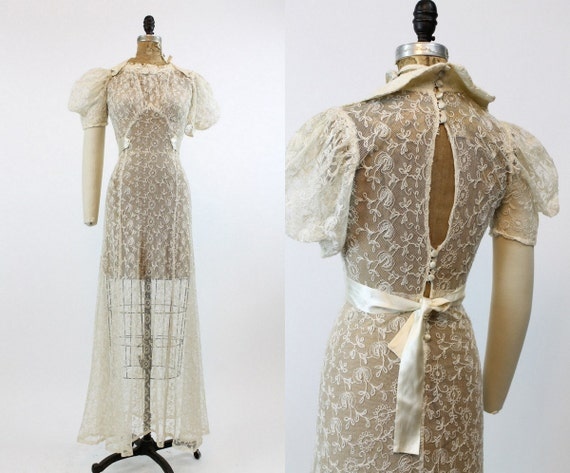 1930s embroidered wedding dress xs | vintage 30s s
