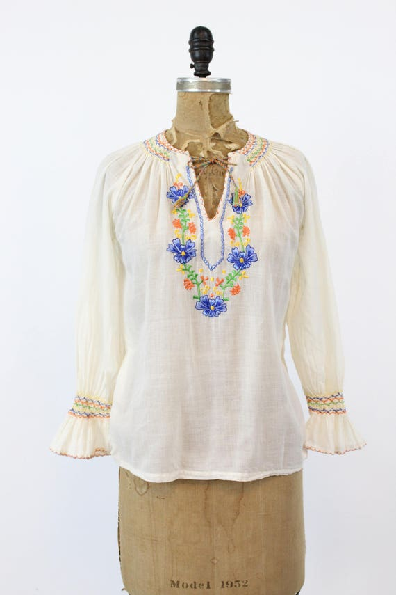 70s does 30s Hungarian Blouse XS Small / 1970s In… - image 2