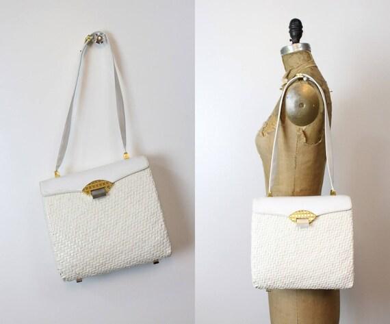 1950s Koret wicker handbag   vintage large purse s
