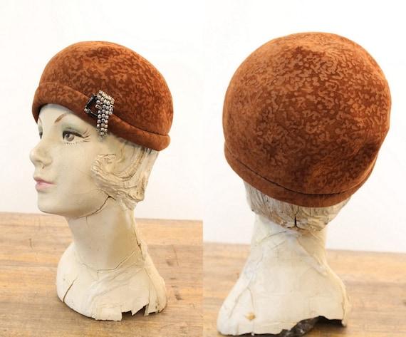 1960s does 1920 cloche   burnout wool hat - image 1