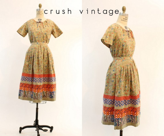 70s Skirt and Blouse Small / 1970s Vintage Cotton