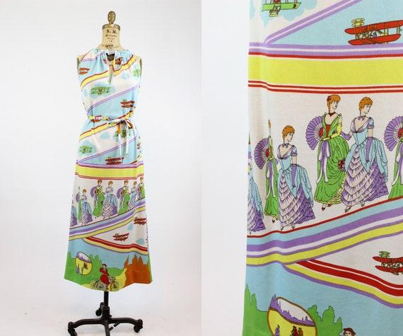 1970s Goldworm art deco print dress small | vintag