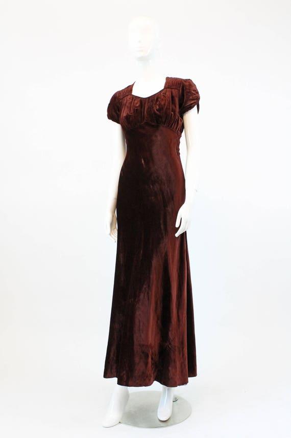 1930s velvet dress | bias cut gown | xs - image 4