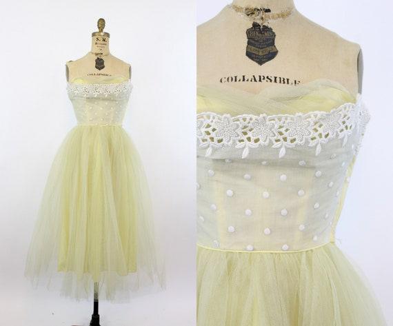 50s strapless tulle dress | vintage cupcake dress