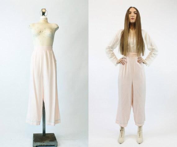 40s Pajama Pants Medium / 1940s Vintage Rayon Pant