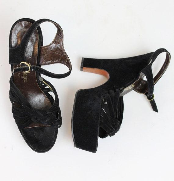 1970s does 1940s platform sandals size 7 us    vi… - image 7