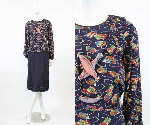 1940s rayon peplum lace up dress | lace up novelty