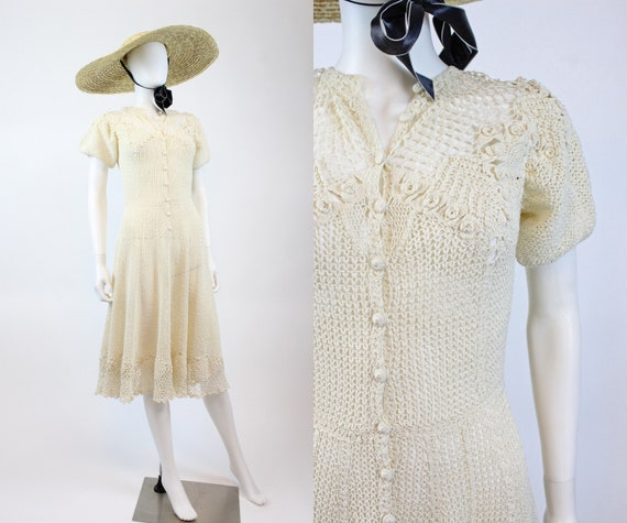 1970s crochet fit and flare dress small medium   7