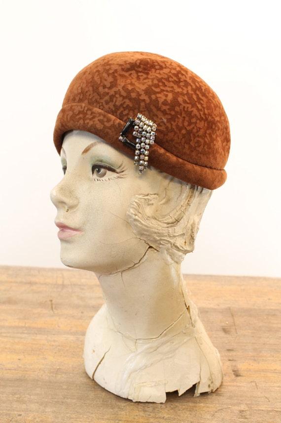 1960s does 1920 cloche   burnout wool hat - image 2