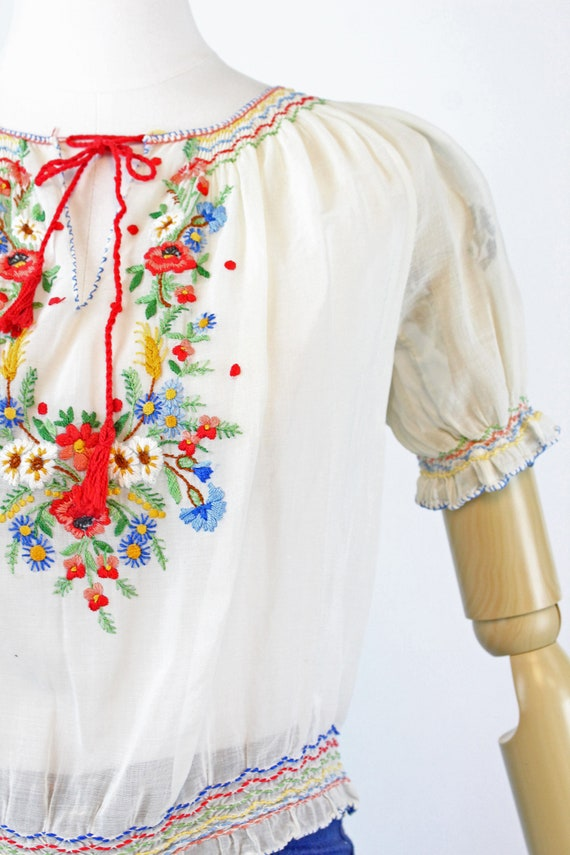 1930s HUNGARIAN embroidered peasant blouse small … - image 3