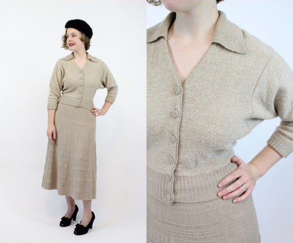 1940's knit set | skirt and top wool blend | small