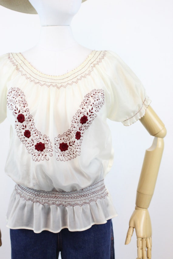 1940s rayon embroidered hungarian blouse small me… - image 3