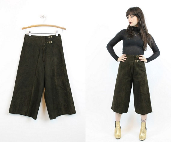 1970s leather gauchos culottes pants xs | vintage