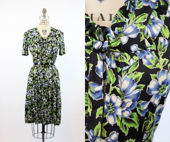 1930s rayon jersey anemone print dress small  | vi