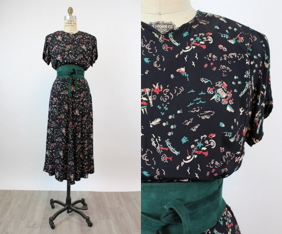 1940s ARTIST and BEACH print rayon dress medium no
