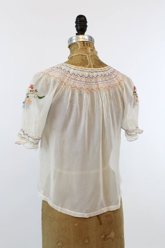 1930s Hungarian embroidered peasant blouse xs | n… - image 7