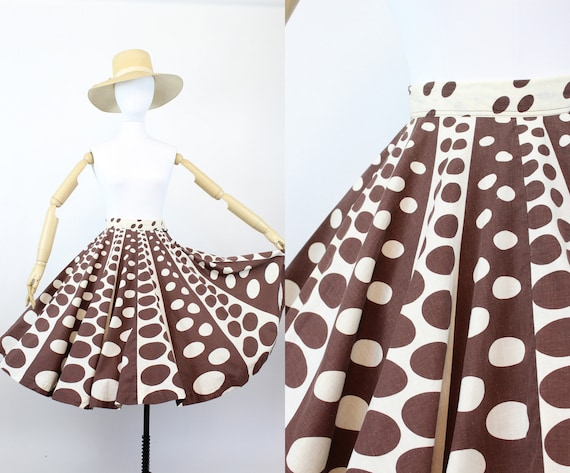 1950s op art circle print skirt  | novelty print c
