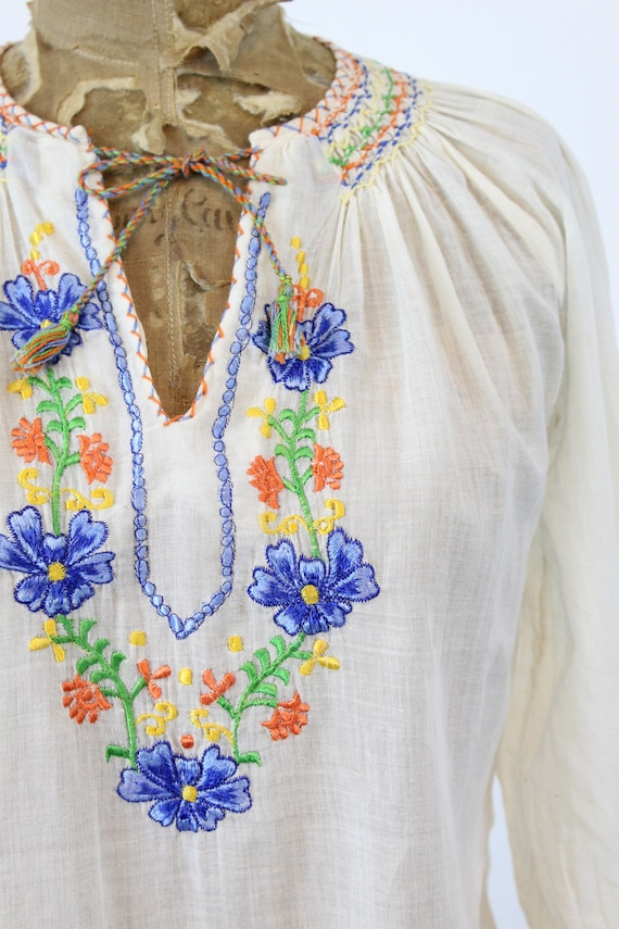 70s does 30s Hungarian Blouse XS Small / 1970s In… - image 3
