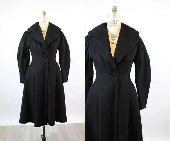 1950s wool PRINCESS coat medium BALLOON sleeves |