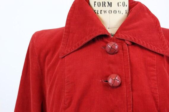 1940s red corduroy coat medium large   vintage ja… - image 4