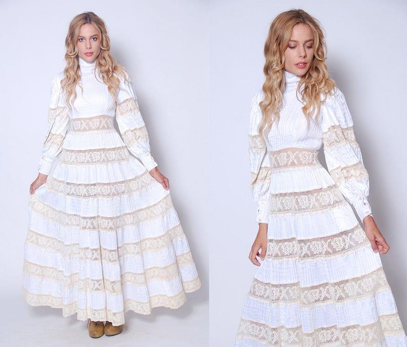 156d5a9615a Vintage 70s MEXICAN Wedding Dress White CROCHET Lace Dress