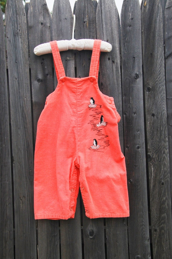 dff9b3e7831 Vintage 60s Baby Girl CORDUROY Overalls PENGUIN Toddler