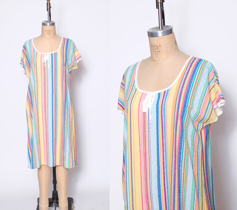 cf8434cde8c Vintage 70s TERRY CLOTH Beach Cover Up RAINBOW Stripe Cover Up