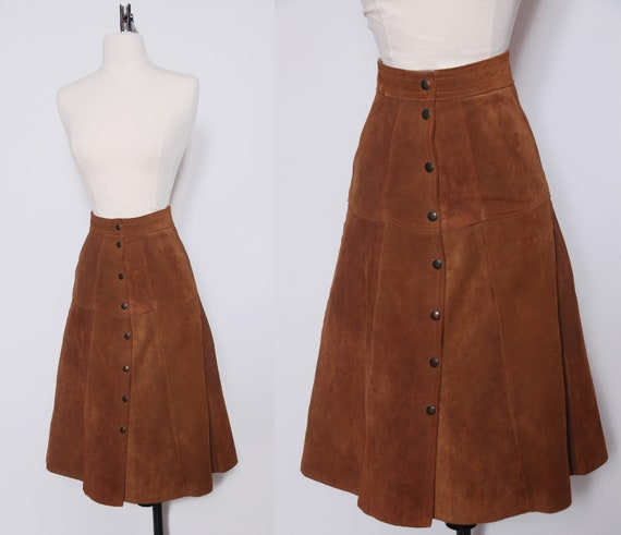 Vintage 70s suede skirt / 1970s leather skirt / ca