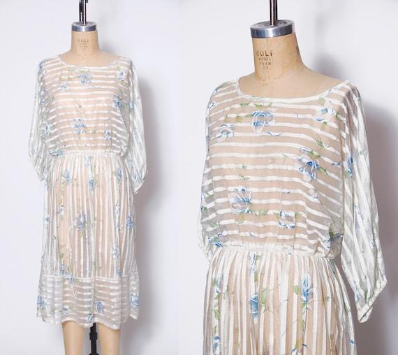 Vintage 80s sheer floral dress / 1980s white strip