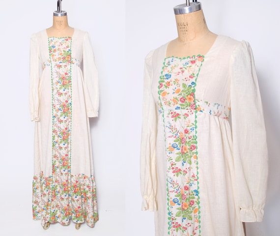 Vintage 70s prairie dress / boho wedding dress / h