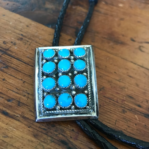 Vintage Navajo Bolo Tie / Silver and Turquoise bol