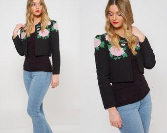 Vintage 80s CROP Jacket QUILTED Floral Jacket Black Spring Bolero Jacket