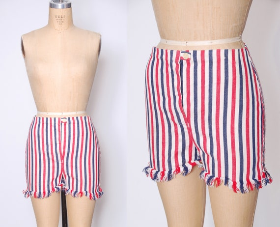 Vintage 60s patriotic shorts / red white and blue