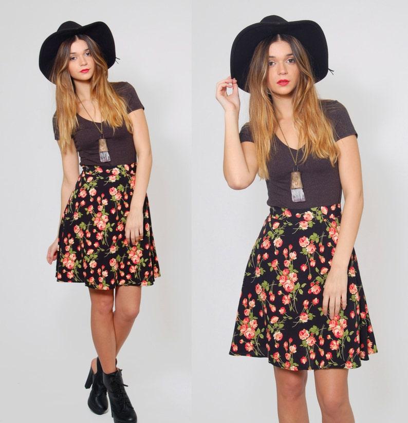d957d105a Vintage 90s FLORAL Mini Skirt Black REVIVAL Skirt Grunge | Etsy