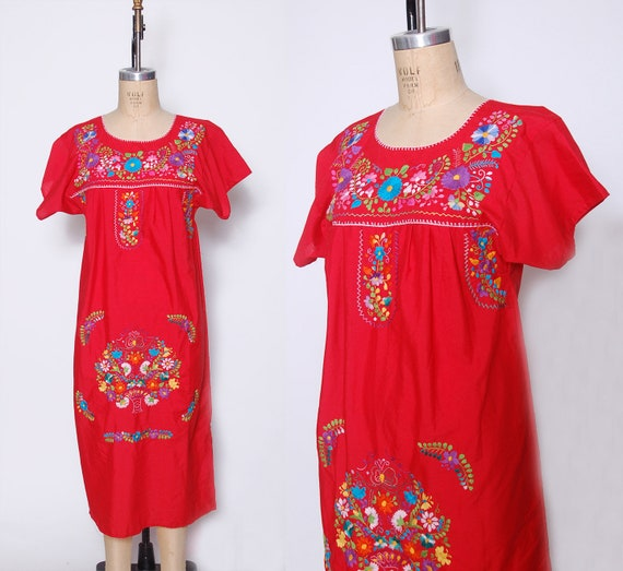 Vintage MEXICAN Dress Red Floral EMBROIDERED Ethni