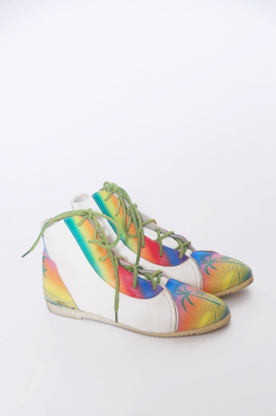 Vintage 80s painted shoes / 1980s rainbow sneakers