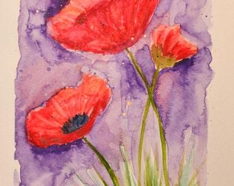 ORIGINAL Watercolor Painting   --Purple Poppies--