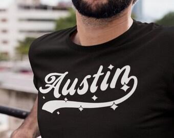 AUSTIN T-Shirt, Unisex • Baseball style graphic tee w. stars, Unique moving to Austin Texas housewarming gift, Keep Austin Weird, Austin fc