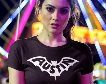 AUSTIN Bat Logo Shirt, Women's Fit • Austin TX, ATX, keep Austin weird, unique aesthetic design, soft fitted tee, Texas housewarming gift