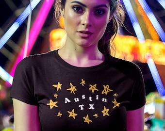 Whimsical AUSTIN shirt w. Stars, Women's Fit • ATX shirt, Texas shirt, fun artistic artsy indie style aesthetic, Austin TX housewarming gift