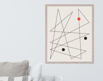 16x20 Physical Art Print • Mid Century Modern unframed abstract wall art, giclee poster, linear, modern wall art, minimal aesthetic decor