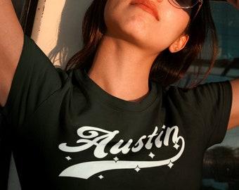 AUSTIN T-Shirt, Womens Fit • ATX w. stars, retro athletic design for women, moving to Austin TX, Texas housewarming gift, Keep Austin Weird