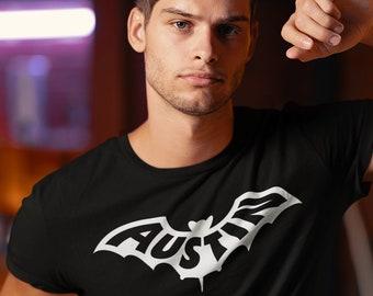 AUSTIN Bat T-Shirt, Unisex • Moving to Austin TX / Austin Texas housewarming gift, ATX, keep Austin weird, mens womens unique aesthetic top