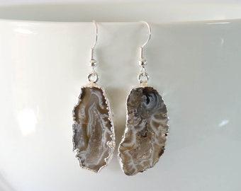Geode Earrings, Crystal Slice Earrings, Agate, Druzy Silver Earrings, Agate, Stone Slice Earrings