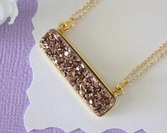 Copper Druzy Necklace Gold, Crystal Necklace, Thin Druzy Pendant, Sideways Druzy, Copper, Gold Druzy, Clear Pendant, Natural Stone, DRZY23